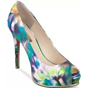 Guess Honora Tie Dye Peep Toe Heels